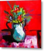 Flowers In Blue Green Pitcher Metal Print