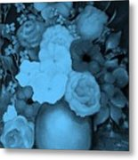 Flowers In Blue Metal Print