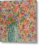 Flowers In Crystal Vase. Metal Print