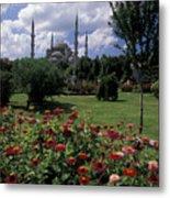Flowers In Sultanahmet Square Metal Print