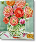 Flowers In The Glass Vase Metal Print