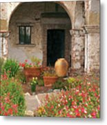 Flowers In The South Wing, Mission San Juan Capistrano, California Metal Print