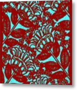 Flowers Indigo Red And Blue Metal Print