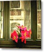 Flowers On A Ledge Metal Print