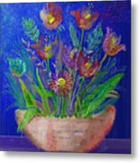 Flowers On Blue Metal Print