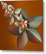 Flowers On Bronze Metal Print