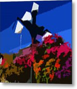 Flowers On Lamppost Metal Print