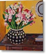 Flowers On The Desk Metal Print