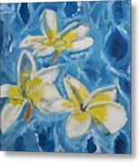Flowers On Water Ripples Metal Print
