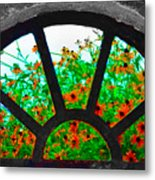 Flowers Through Basement Window At Monticello Metal Print