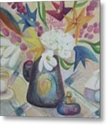 flowers Tin Vase and Tea Cup  Metal Print