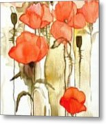 Flowers Wet Metal Print