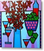 Flowers Wine Apples Metal Print