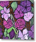 Flowers With Basket Weave Metal Print