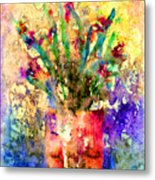 Flowery Illusion Metal Print