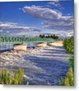 Flowing River And Bridge Metal Print by Connie Cooper-Edwards