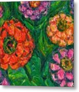 Flowing Zinnias Metal Print