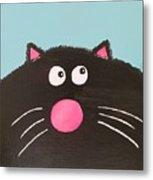 Fluffy Black Cat Metal Print