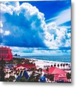 Fluffy Clouds Over Clearwater Beach Metal Print