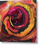 Fluorescent Rose Metal Print