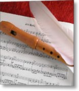 Flute And Feather Metal Print