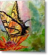Flutterby - Watercolor Metal Print