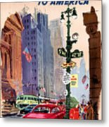 Fly Bcpa To America Vintage Poster Restored Metal Print
