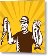 Fly Fisherman Holding Bass Fish Catch Metal Print by Aloysius Patrimonio