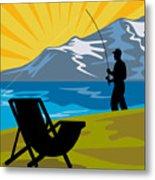 Fly Fishing Metal Print by Aloysius Patrimonio