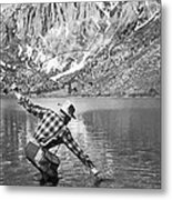 Fly Fishing In A Mountain Lake Metal Print