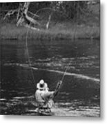 Fly Fishing In Black And White Metal Print