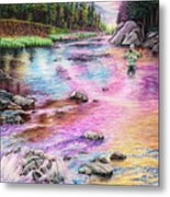 Fly Fishing In River At Sunrise Metal Print
