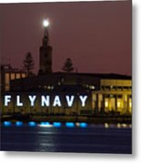 Fly Navy Metal Print