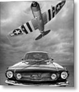 Fly Past - 1966 Mustang With P47 Thunderbolt In Black And White Metal Print