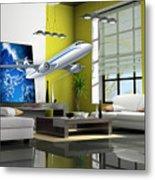 Fly The Friendly Skies Art Metal Print