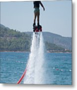 Flyboarder Giving Victory Sign With One Hand Metal Print