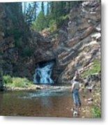 Flyfishing At Trick Falls In Glacier National Park Metal Print