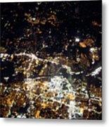 Flying At Night Over Cities Below Metal Print