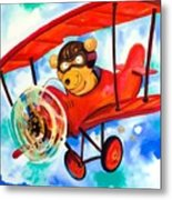 Flying Bear Metal Print