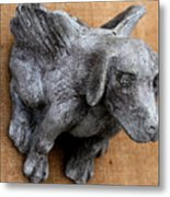 Flying Dog Gargoyle Metal Print by Katia Weyher