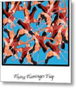 Flying Flamingos Metal Print