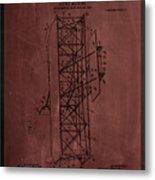 Flying Machine Patent Drawing  Metal Print