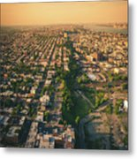 Flying Over Jersey City Metal Print
