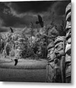 Flying Ravens And Totem Poles In Black And White Metal Print