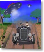 Flying Saucers Attack Teenage Hot Rodders Metal Print