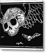 Flying Skulls Metal Print