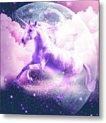 Flying Space Galaxy Unicorn Metal Print