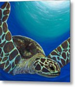 Flying Turtle Metal Print