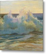 Foaming Waves At Beach Metal Print