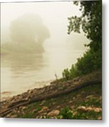 Fog Along The Red Metal Print